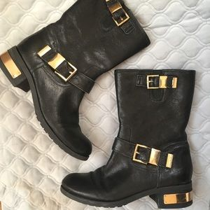 Vince Camuto Black Leather Moto Booties